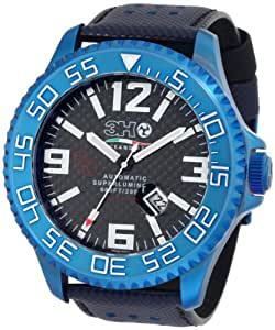 3H Men's T8B Titanium Blue PVD Automatic Divers Jumbo Dial Interchangeable Band Watch