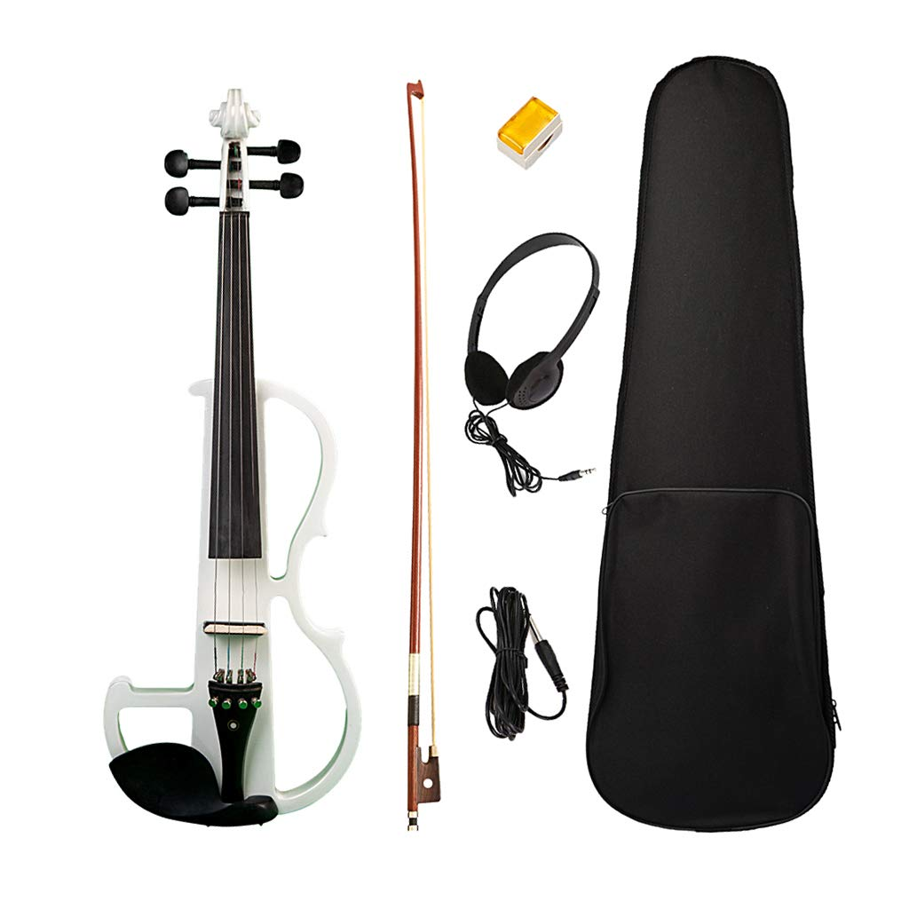 Homyl 1 Set 4/4 Full Size Electric Silent Violin Fiddle with Accessories - White