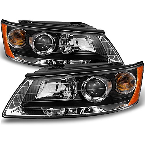 For Sonata Black Halogen Type Projector Headlights Head Lamps Replacement Left + Right Pair -