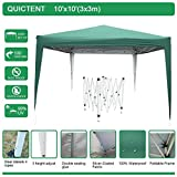 Quictent 10x10 EZ Pop Up Canopy Tent Instant Canopy Party Tent Outdoor Canopy with Carry Bag Waterproof-7 Colors (Green)