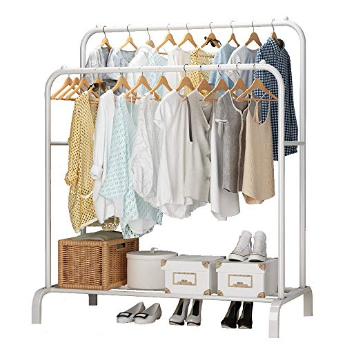 UDEAR Garment Rack Freestanding Hanger Double Pole Multi-Functional Bedroom Clothing Rack, White (Clothing Rack Hanger)