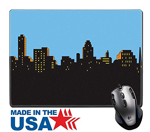 """MSD Natural Rubber Mouse Pad/Mat with Stitched Edges 9.8"""" x 7.9"""" Retro Classic Comics Style City Skyline IMAGE 21536038"""
