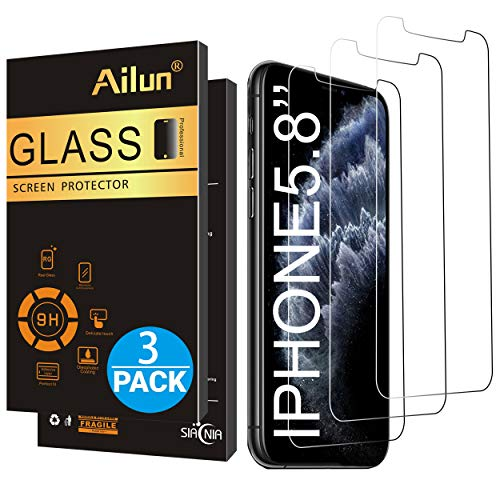 Ailun for Apple iPhone 11 Pro/iPhone Xs/iPhone X Screen Protector 3 Pack 5.8Inch Display Tempered Glass 2.5D Edge Advanced HD Clarity Work Most Case (Best Tempered Glass Screen Protector For Iphone X)