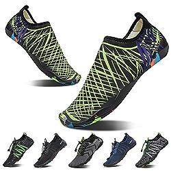 Yalox Men Women S Water Shoes Barefoot Quick Dry Aqua Shoes For Swimming Walking Yoga Beach Sports Surfing Green Net 43eu