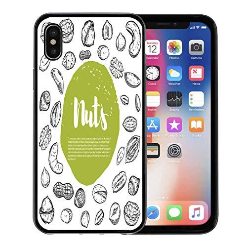 Price comparison product image Emvency Phone Case for Apple iPhone Xs Case / iPhone X Case, White Nutshell Cashew Hazelnut Walnut Pistachio Pecan Nuts Sketches Soft Rubber Border Decorative,  Black