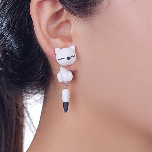 Money coming shop Hot White Fox Earrings Handmade Polymer Clay Earrings Cartoon Fox Earrings Animal Earring For Women Gift ER0001-11