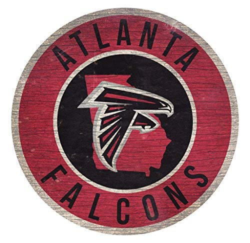Atlanta Falcons Wood Sign 12 Inch Round State Design