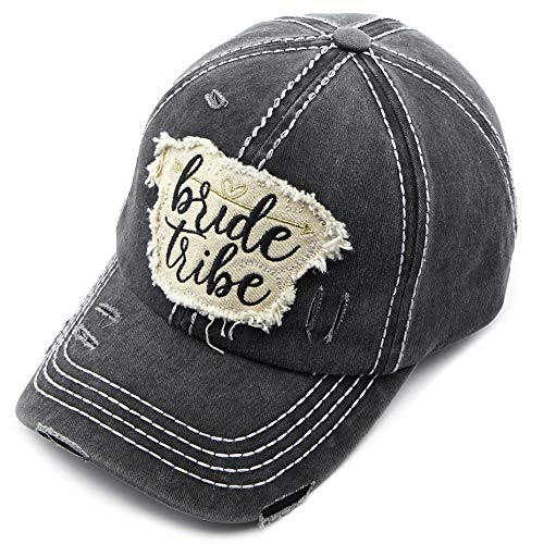 C.C Exclusives Hatsandscarf Washed Distressed Cotton Denim Ponytail Hat Baseball Cap (BA-2019) (Black, Bride Tribe)