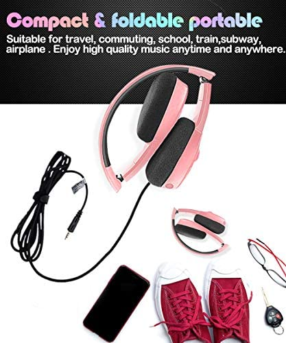 Pink Gaming Headset for Girl, Women, Kids, Teens,Stereo Headphones for PC, PS4, New Xbox One, Smartphones 3.5mm Jack Wired Kid Headset with Detachable Mic,Adjustable Headband, Foldable. (Pink)