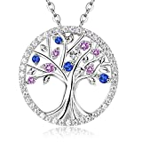 Pink Tourmaline and Blue Sapphire Necklace September October Birthstone Jewelry Sterling Silver Tree Pendant Birthday gifts for Her