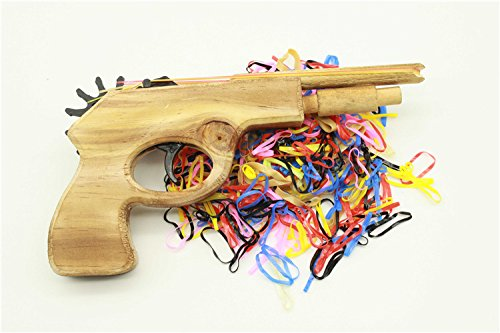 14k 6 Mm Mount (Multicolour Bullet Rubber Band Launcher Wooden Gun Hand Pistol Shooting Toys Guns)