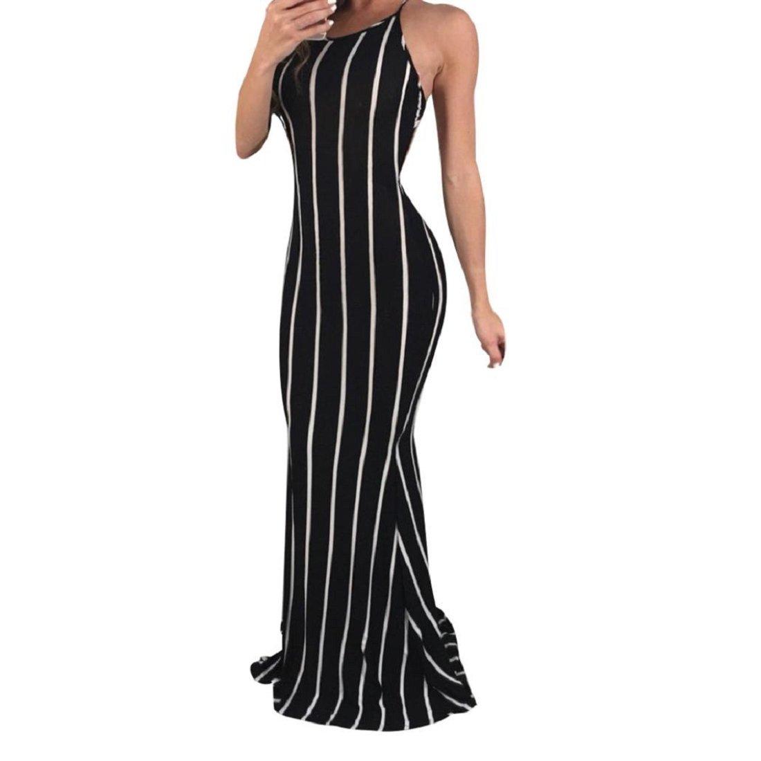 GONKOMA Dresses Women's Summer Bodycon Long Dress Evening Party Dress Casual Sleeveless Beach Maix Dress (S, Black)