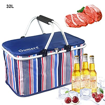 Oumers Upgrade Lunch Tote Bag, Large Pranzo Insulated Bag, Cooler Bag, Foldable Picnic Basket, Ultra-size Idea for Outdoor Travel, Picnic, Camping BBQ Party, Keep Food and Drinks Cool Fresh by Oumers
