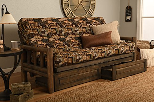 """Price comparison product image Rustic Lodge Wood """"Frame,  Drawers and Mattress"""" 8 Inch Innerspring Mattress Futon Set by Jerry Sales (Pete's Lodge Fabric)"""