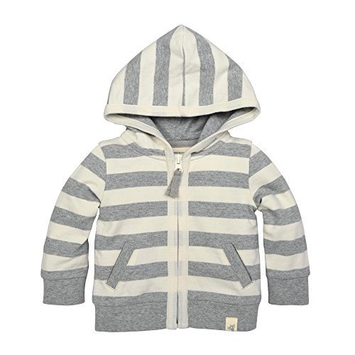 Burt's Bees Baby Baby Organic Hoodie, Heather Grey French Terry Stripe, 12 (Terry Cotton Hoodie Jacket)