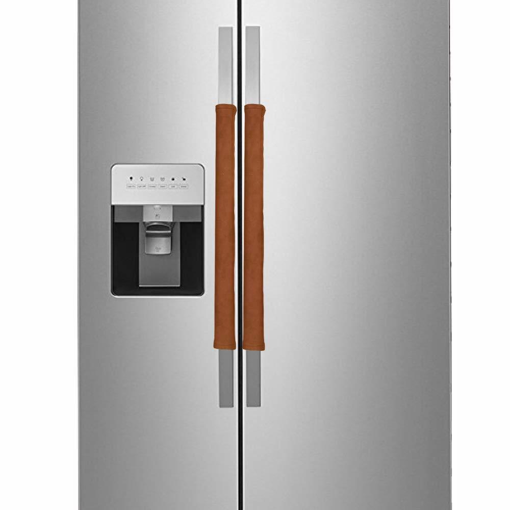 R.LANG Innovative Design Adjustable Handle Covers for Refrigerator Door Dishwasher Door Cloth Protector Dark Orange 1 Pair (Set of 2) 19.7x4-inch