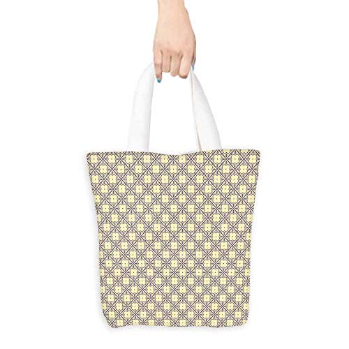 Geometric Canvas Tote Oriental Themed Blossoms with Abstract Foliage Pattern Diagonal Lines Handy 16.5