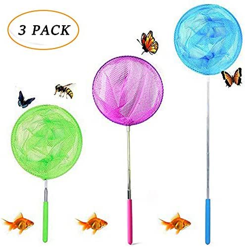 JTEEY Kids Telescopic Butterfly Net Catching Bugs Insect Small Fishing nets Extendable from 6.8