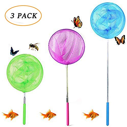 JTEEY Kids Telescopic Butterfly Net Catching Bugs Insect Small Fishing nets Extendable from 6.8???? to 34???? Inch for Kids (3pack)