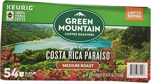 Paradise Costa Rica - Green Mountain Green Mountain Costa Rica Paraiso Coffee Roasters (54/0.38 Ounce  Net Wt 20.7 Ounce ), Single Origin, 20.7 Ounce