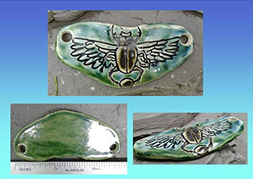 Egyptian Scarab Pendant Ceramic Hieroglyph Winged Disc Amulet Turquoise Green Focus Bead ()