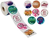 Feminist Stickers – 504-Piece Encouragement Stickers, Round Labels with Assorted Feminism Girl Power Quotes, 8 Designs, Party Favors, 2 x 2 Inches