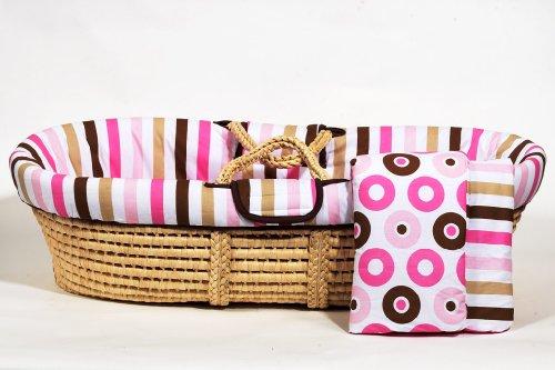 - Bacati Mod Moses Basket, Dots/Stripes Pink/Chocolate