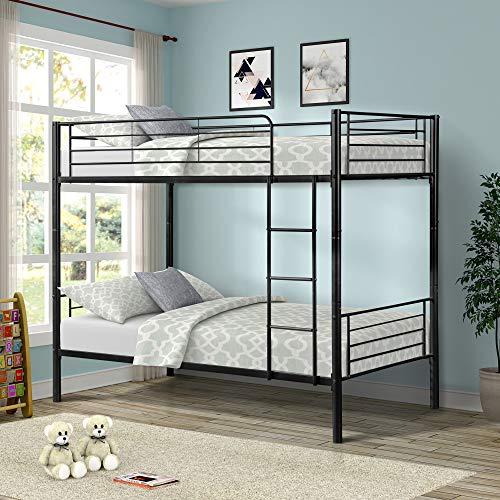 Merax Twin Over Twin Metal Bunk Bed - Bed Chrome Bunk Bedroom