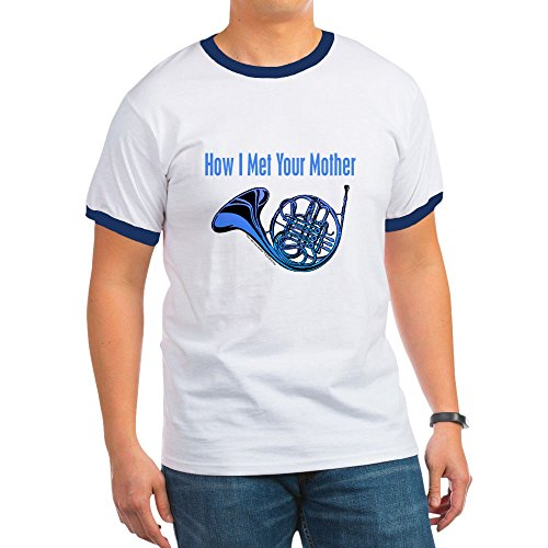 CafePress - Blue French Horn T-Shirt - Ringer T-Shirt, 100% Cotton Ringed T-Shirt, Vintage Shirt (Ringer Horn)
