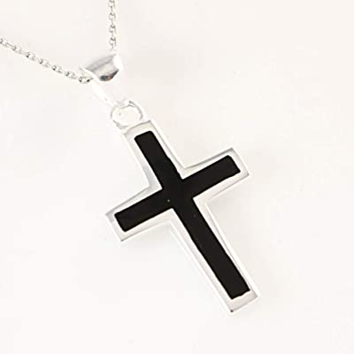 Women's Sterling Silver Rhodium Plated Black Cross 1'' Pendant Necklace 18 inch (16+2'') Chain