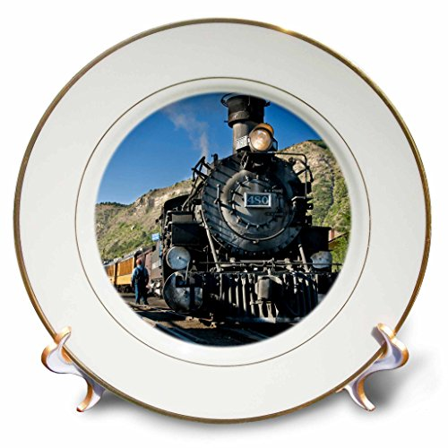 3dRose cp_88941_1 Durango and Silverton narrow guage Railroad, Trains - US06 LKL0010 - Lee Klopfer - Porcelain Plate, 8-Inch - Silverton Four Light