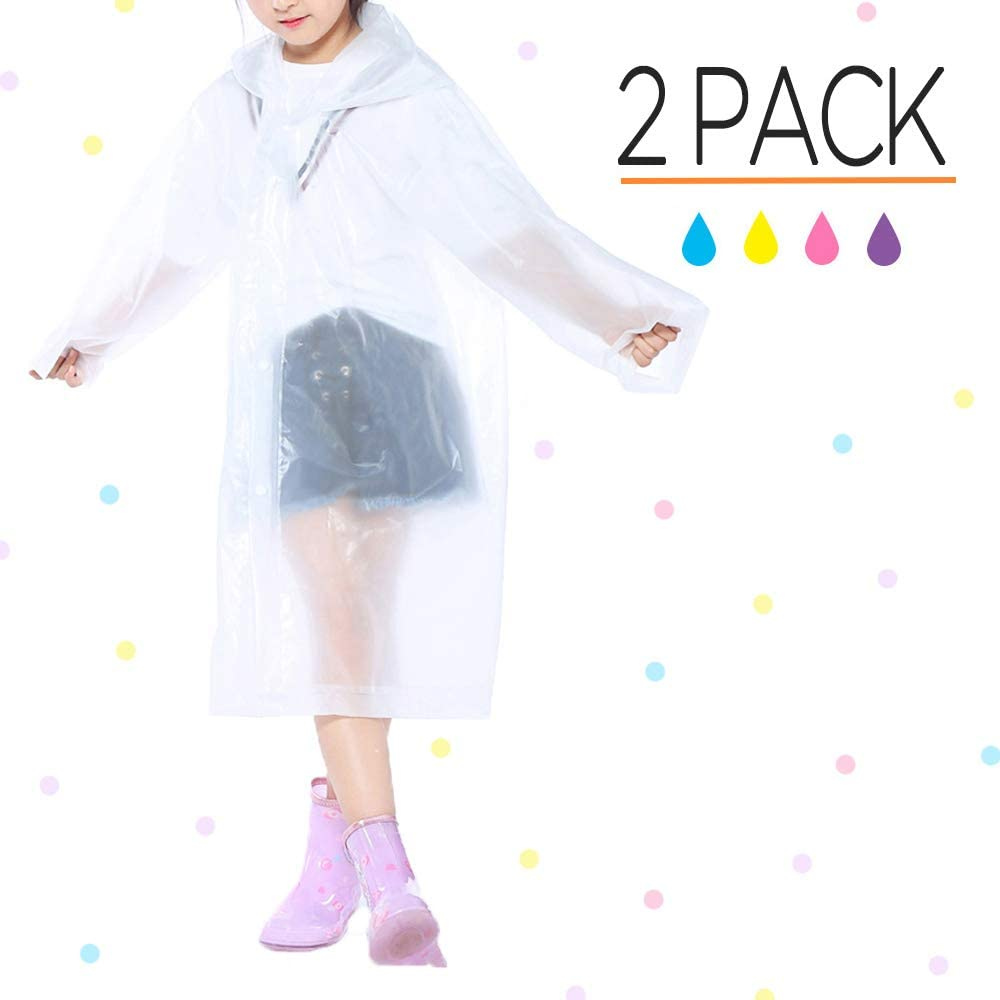 Opret Portable Kids Children Rain Poncho, Reusable Raincoat with Hoods and Sleeves, Durable, Lightweight and Perfect for Outdoor Activities
