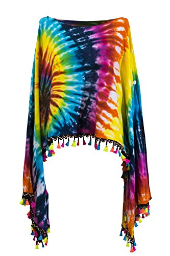 Tie dye Groovy Colors 2in1 Poncho Wrap Shawl Bohemian Hippie Festival Beachwear (Colourful Bright) from CCcollections