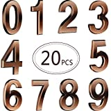 20 Pieces Self-Adhesive Door House Numbers Mailbox Numbers Bronze Street Address Numbers for Residence and Mailbox Signs, 0 to 9
