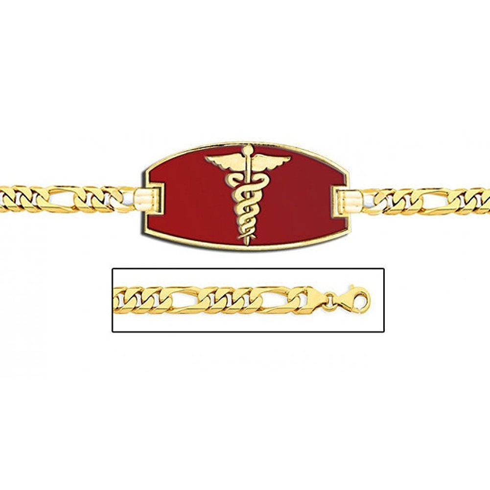 PicturesOnGold.com 14K Gold Medical ID Bracelet W/Figaro Chain with Enamel - 7-1/2 Inch WITH ENGRAVING