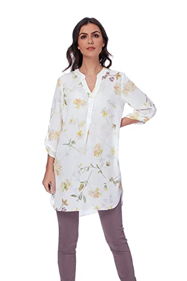 322cc59e8eed92 Roman Originals Women Floral Longline Blouse Tunic - Ladies Chiffon with  Sleeves Daytime Work Office Interview Casual Weekend Shirt Blouses Tunics  Tops ...