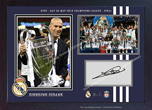 S&E DESING Zinedine Zidane Real Madrid Photo Signed Autograph Print Picture Framed ()