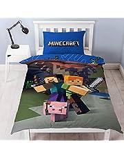Minecraft Reversibile Set Copripiumino, Poliestere, Blu, Singolo