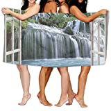 Haixia Highly Absorbent Bath Towels Beach/Bath/Pool Towel 51.2'' X 31.5'' House Decor Majestic Waterfall Landscape Through A Window Imaginary Secret Paradise at Home Decor Full Blue Green