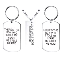 "VALYRIA Silver Rectangle Dog Tag Pendant Necklace and Keychain Set with ""DAD'S LITTLE DUDE MOM'S PRINCE"" Engraved"
