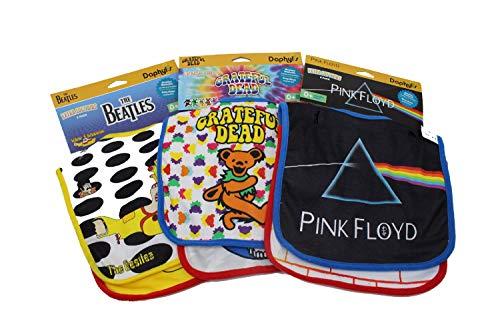 Grateful Dead, Pink Floyd and The Beatles Extra Soft Bibs 6 Piece Multi Pack (Beatles Bib)