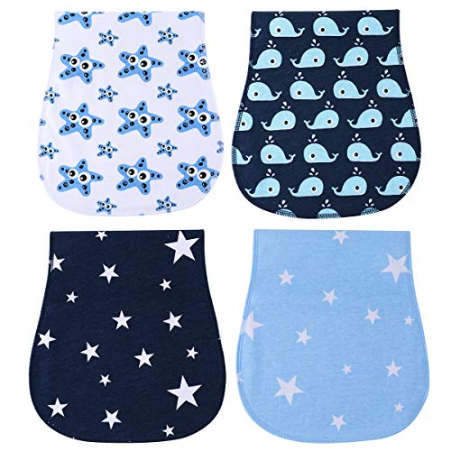 Burp Cloths Waterproof for Boys Girls - Absorbent and Soft Baby Burp Clothes Set 4 Pack by YOOFOSS ()