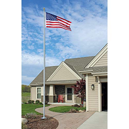 Eder Flag - SS25 25-Foot Aluminum Flagpole + 4x6-Foot American Flag - Easy to Install - All Accessories Included (Includes 4x6 Foot Endura-Nylon American Flag, Satin - Aluminum Sheave