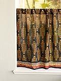 Saffron Marigold – Kilim Noir – Black, Gold, and Red Hand Printed – Elegant Romantic Sheer Cotton Voile Kitchen Curtain – Rod Pocket (46×24)