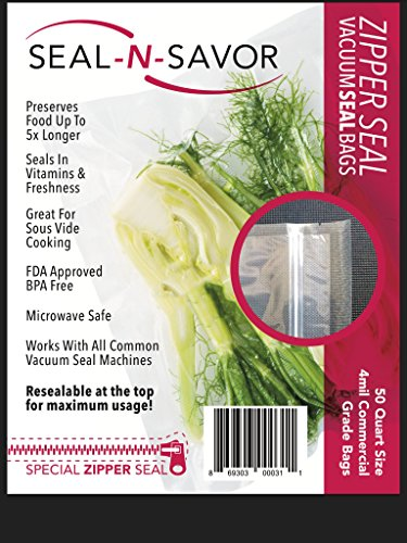 Precut Re-sealable Vacuum Seal Bags with BPA-Free Multilayer Construction for Food Preservation, 50 Count (Quart 8 x 12)
