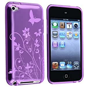 eForCity TPU Rubber Skin Case compatible with Apple® iPod touch® 4th Generation, Clear Dark Purple Flower w/ Butterfly