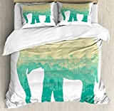 Lunarable Africa King Size Duvet Cover Set by, Hand Drawn Composition of Elephant Tree Silhouettes Abstract Fauna and Flora, Decorative 3 Piece Bedding Set with 2 Pillow Shams, Turquoise Beige