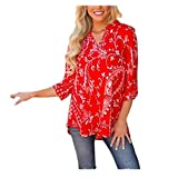 Anxinke Women Printed Blouse Ruffle Hem Cuffed Long Sleeve Tops (M)