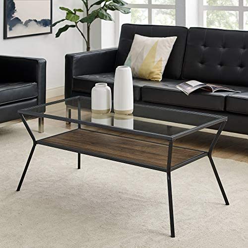 Walker Edison Furniture Company Modern Angled Metal Frame Rectangle Accent Coffee Table Living Room Ottoman Storage Shelf, Walnut Brown