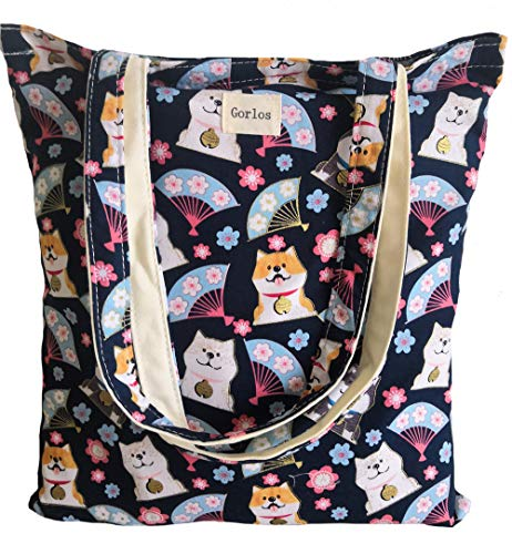 Canvas Tote Carrying Bag for Book Lovers, Readers, and Bibliophiles, Travel bag, shopping bag, Reusable Grocery Bags, (63-No closure-vivi style-floral+cat) - Bag Lined Cotton Shoulder Fully